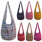 Elephant Print Hippy Hippie Festival School Shoulder Sling Bag LARGE Many Colors
