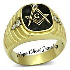 MEN'S GOLD TONE ENAMEL STAINLESS STEEL CLEAR CRYSTAL MASONIC RING - SIZE 8 - 14
