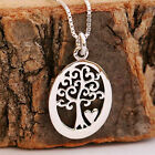 925 Sterling Silver Tree Of Life & Heart Pendant Chain Necklace Handcraft w Box