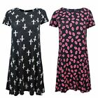 LADIES LIPS KISS CROSS PRINT BAGGY CASUAL WOMENS TOP SWING SKATER FLARED DRESS