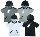 Boy's Trendy Cotton Hoody T-Shirt with Leather Look Hood 3-10 Years NEW