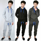 Mens Fleece Zip Plain jogging suit Full Tracksuit Hooded Bottoms Top S M L XL