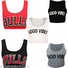 "Ladies Celeb Miley Cyrus Inspired ""BULLS"" GOOD VIBES Print rop Vest Bra Top 8-14"