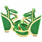 Green and Gold Two Tone Wedges Womens Fashion Designer Shoes