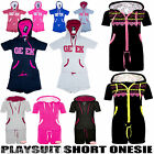 Womens GEEK PLAYSUIT Short Onesie Hood Top Summer Jumpsuit Ladies Cosy New