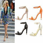 LADIES BARELY THERE STILETTO HIGH HEELS ANKLE CUFF STRAPPY BUCKLE SANDALS SHOES