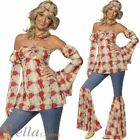 Ladies Hippy 60s 70s Fancy Dress Costume Adult Groovy 1960s Hippie Flares Outfit