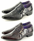 Mens Leather Lined Crocodile Skin Winkle Pickers Shiny Patent Shoes in Size 6-11