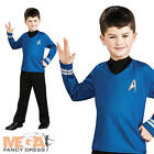 Star Trek Spock Blue Shirt Boys Kids Fancy Dress Space Movie Childrens Costume