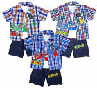 Boy's 3 Piece Extreme Sneaker Logo Check Shirt, Top & Shorts  Set 2-10 Yrs NEW