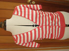 BODEN LINEN MIX CORAL PINK WHITE STRIPE CARDIGAN 10 NEW