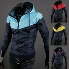 Fashion Men's Jackets Hooded Casual Zipper Patchwork Sport Outwear Wind Breaker