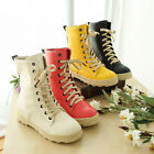 New Arrival Candy Color PU Leather Winter Boots Fashion Lace-up Shoes XWX575