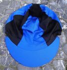 FREE POST Riding Hat Silk Skull cap Cover ROYAL BLUE & BLACK With OR w/o Pompom
