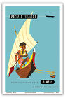 Pacific Islands Sailing Canoe Vintage Airline Travel Art Poster Print