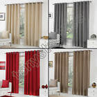PLAIN EYELET RING TOP LINED PAIR READY MADE CURTAINS CREAM RED GREY TEAL BLUE