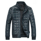 New Men's Cotton-padded PU Leather Jacket  Outwear Casual Coat 3 colors MWJ290