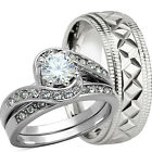 3 Pcs His And Hers Genuine 925 Sterling Silver Wedding Bridal Matching Ring Set