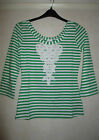 NEW WITH TAGS LADIES GREEN/WHITE BEAUTIFUL APPLIQUE TOP***SIZE 12***