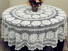 Vintage Handmade 100% Cotton Crochet Lace Tablecloth Whit...