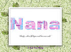 Personalised NANA Word Art-Frame Choice-Gift Birthday,Christmas,Mother's Day....