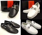 Men's GIOVANNI black white faux leather casual slip on boat shoes style M788-5