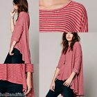 FREE PEOPLE 3/4 Slv Circle In The Sand Stripe Layering Trapeze Tunic Top Shirt