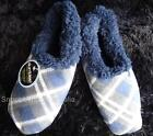 Slumbies Slippers Mens Boys Shoe Socks Fleece Winter Blue Plaid Anti-Slip Bed