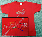 BATON TWIRLING RED T SHIRT RAINBOW RHINESTONE STAR PATTERN, ADULT, CHILD