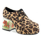 PIMP02/BN/FUR Mens Retro Disco Faux Cheetah Platform Pimp Costume Goldfish Shoes