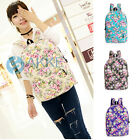 Women's Floral Pattern Canvas Travel Backpack Flower School Satchel Rucksack Bag