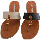 Womens Summer Flip Flop Sandals Buckle Toe Post Black Gold Slip On Mules 246691
