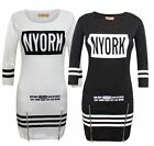 LADIES WOMENS NYORK MOTIF ZIP STRTCHABLE STRIPE TUNIC SHORT BLACK DRESS TOP 8-14