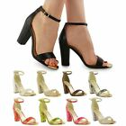 LADIES WOMENS ANKLE STRAP BLOCK MID HIGH HEEL STRAPPY OPEN TOE SANDALS SHOE SIZE