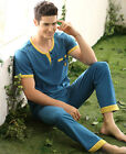 New Blue Summer Leisure Cotton 2PCs Men's Short Sleeves Pajama Sets L/XL/2XL/3XL