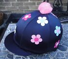 Riding Hat Silk Skull cap Cover NAVY *WHITE PINK BLUE FLOWERS With OR w/o Pompom