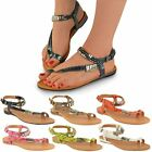 NEW LADIES WOMENS FLAT SUMMER DRESS SANDALS ANKLE STRAPPY FLIP FLOPS SIZE