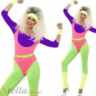 Ladies 80s Work Out Neon Fitness Instructor Dancer Fancy Dress Costume Outfit