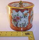 vintage ~ Made in England Tin container ~ Japanese Floral design w/ Lid ~