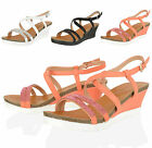 WOMENS LADIES SUMMER WEDGE MID LOW HEEL SANDALS BEACH HOLIDAY PARTY SHOES SIZE