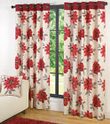 BARGAIN 100% COTTON LINED EYELET RINGTOP RED CURTAINS.SAVE 30%.NEXT DAY DELIVERY