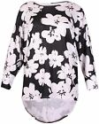 Womens Plus Size Floral Print Ladies Stretch Batwing Sleeve Fishtail Top Dress
