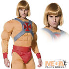 He-Man Masters of Universe Superhero Fancy Dress Costume 80s Adult Outfit + Wig