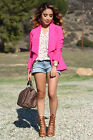 Kardashian Kollection Clothing Hot pink Blazer Crepe Jacket suit 100% Genuine