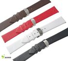 12~20mm Leather Cowhide Fold Deployment Stainless Steel Clasp Thin Watch Strap