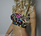 BLACK STARS CIRCLES LYCRA STRAPLESS BOOB TUBE BANDEAU TOP CLUB PARTY DANCER W669