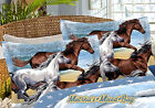 COASTAL PONY HORSE BEACH WESTERN BLUE BROWN 6-8P COMFORTER~SHEETS~SHAMS~BED SET