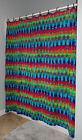 Hippie Tie Dye Dyed Rainbow Grommet or Buttonhole Fabric Shower Curtain Washable