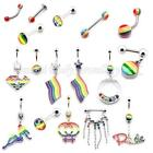 Body jewellery Gay Pride Belly Tongue Labret Eyebrow Nipple Piercing bars