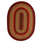 Jute Braided Area Floor Rug Oval Brown Red Green Rustic Cottage Cabin Lodge